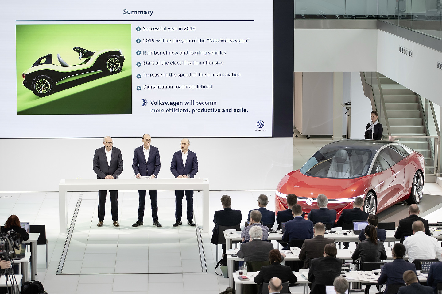 Jürgen Stackmann, Volkswagen Brand Board Member, responsible for Sales, Marketing and After Sales, Ralf Brandstätter, Volkswagen Brand Board Member, Chief Operating Officer (COO) of the Volkswagen brand, Dr. Arno Antlitz, Volkswagen Brand Board Member, responsible for Controlling and Accounting